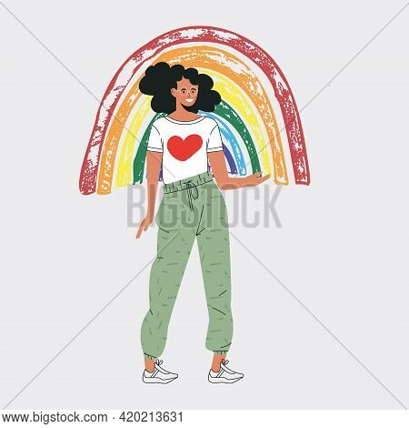 Young Volunteer Character With Rainbow. Give And Share Your Love To People. Rainbow Symbol Of Hope A