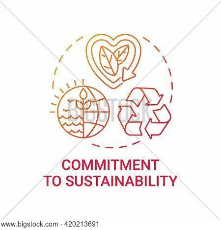 Commitment To Sustainability Concept Icon. Corporate Value Idea Thin Line Illustration. Company Stra