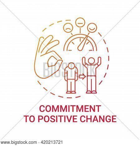 Commitment To Positive Change Concept Icon. Corporate Value Idea Thin Line Illustration. Organizatio