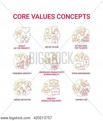 Core Values Concept Icons Set. Open-mindedness Idea Thin Line Rgb Color Illustrations. Increased Pro