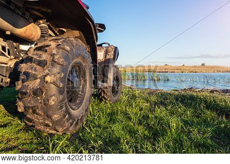 Atv Awd Quadbike Motorcycle Pov View Near Lake Or River Pond Coast With Beautiful Nature Landscape S