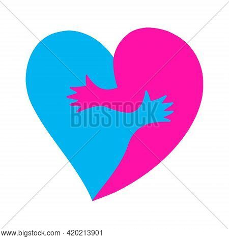 Logo For Happy Valentine's Day.two Halves Of A Heart That Are Hugging.warm Hugs Of Man And Woman As