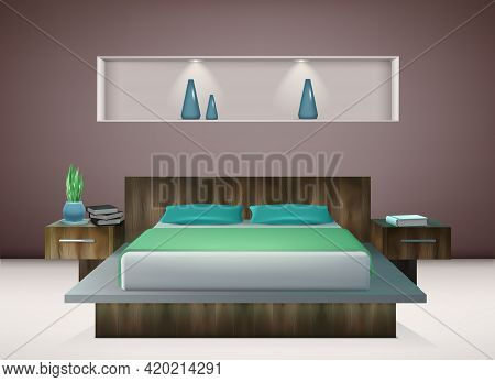 Contemporary Bedroom Interior With Bedding In Shades Of Emerald And Aquamarine Green Wall Decoration