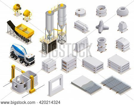 Concrete Production Set Of Isometric Icons With Manufacturing Equipment Transport And Finished Stone