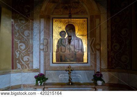 Haifa, Israel, May 01, 2021 : The Side Prayer Room Of The Russian Orthodox Church In Haifa City, In