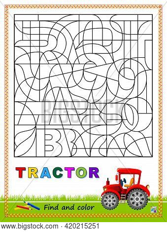 Logic Puzzle Game To Study English Or Spanish With Maze. Find Letters And Paint Them. Read The Word.