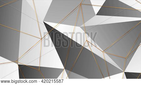 Golden polygonal outline texture on black and grey background