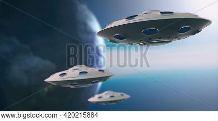Ufo On Blue Sky Over Planet Earth Background. 3D Illustration