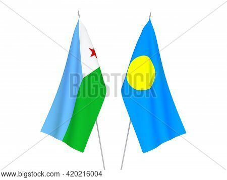National Fabric Flags Of Palau And Republic Of Djibouti Isolated On White Background. 3d Rendering I