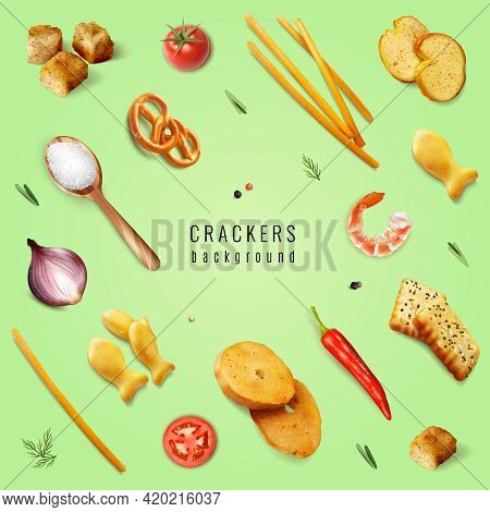Crackers And Snacks With Different Forms And Flavoring Additives On Green Background Realistic Vecto