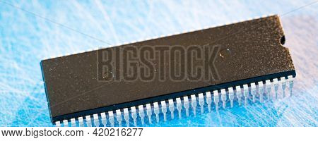integrated circuit closeup integrated circuit isolated on white base