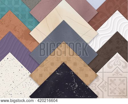 Colored Realistic Ceramic Floor Tiles Horizontal Set With Squares Of Different Types And Styles Of T
