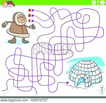 Cartoon Illustration Of Lines Maze Puzzle Game With Eskimo Character And Igloo