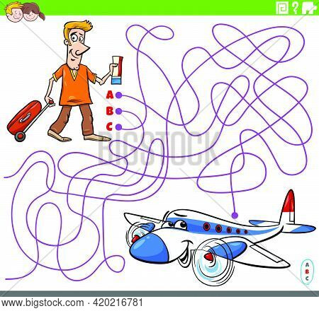 Cartoon Illustration Of Lines Maze Puzzle Game With Man With Ticket And Suitcase Ready To Take Off A