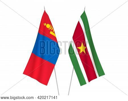 National Fabric Flags Of Mongolia And Suriname Isolated On White Background. 3d Rendering Illustrati