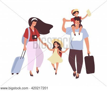 People Are Traveling With Children And Luggage. Asian Couple With Son And Daughter On Vacation. Fami