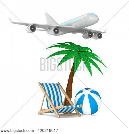 airplane, chaise lounge and palm tree on white background. Isolated 3D illustration