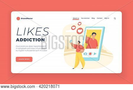 Likes Addiction Landing Page Website Banner Template. Likes Addiction. Male Cartoon Character Taking