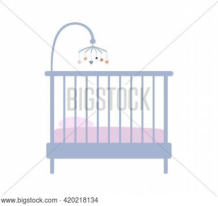 Baby Crib Icon In Pastel Vintage Colors. Furniture For A Newborn, A Crib In A Nursery. Flat Clipart