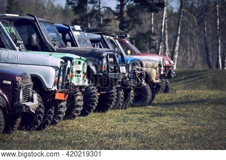 General View Of 4x4 Off-road Vehicles Built Before The Start Of Extreme Competitions. Cross-country