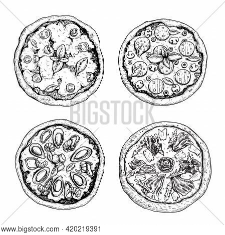 Hand Drawn Pizza. Top View. Sketch Style. Margarita, With Salami And Mushrooms, Frutti Di Mare (seaf