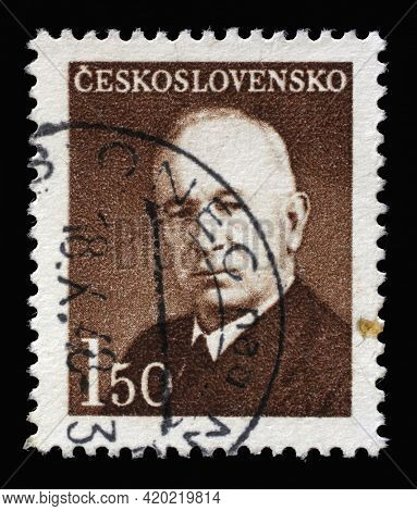 ZAGREB, CROATIA - SEPTEMBER 18, 2014: Stamp printed in Czechoslovakia shows President Eduard Benes, circa 1948