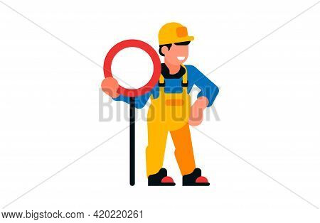 A Worker Standing At A Road Sign. Smiling Male Builder And Sign. Vector Illustration Isolated On Whi
