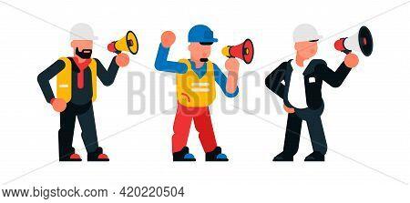 Set Of Foreman Speaking Into Loudspeaker. Foreman, Builder, Order, Loudly, Task. Vector Illustration