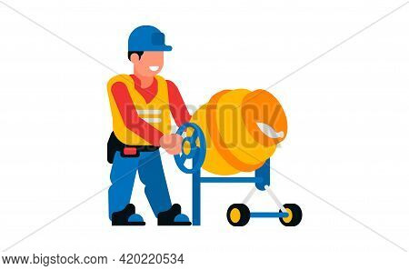 Worker And Concrete Mixer. Happy Male Builder And Concrete Mixer. Vector Illustration Isolated On Wh