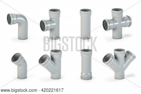 Various PVC plastic pipes and tubes  fittings isolated on white. 3d illustration
