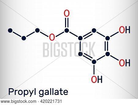 Propyl Gallate, N-propyl Gallate Molecule. It Is Antioxidant, Food Additive, E310. Skeletal Chemical