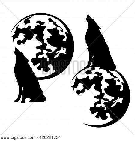 Howling Wolf Sitting On Full Moon Sphere Black And White Vector Silhouette Outline Set