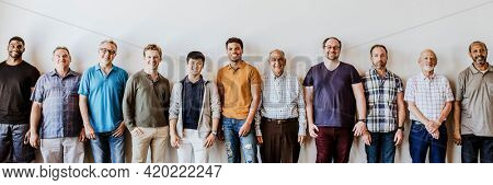 Cheerful diverse men standing in a line social banner