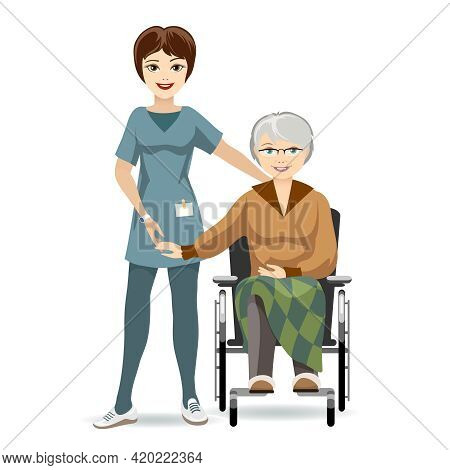 Colored Cartooned Senior Woman Sitting On Wheelchair With Caregiver. Isolated On White Background.
