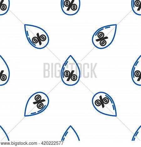 Line Water Drop Percentage Icon Isolated Seamless Pattern On White Background. Humidity Analysis. Co