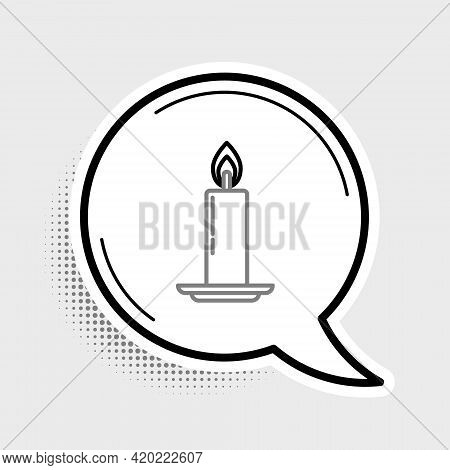 Line Burning Candle In Candlestick Icon Isolated On Grey Background. Old Fashioned Lit Candle. Cylin