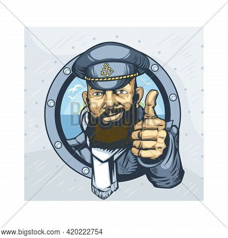 Bearded Captain Of The Ship Showing Everything Will Be Fine.