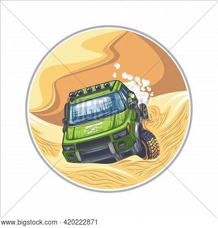 Green Suv Is Driving Through Difficult Obstacles In The Desert. Can Be Printed On T-shirts.