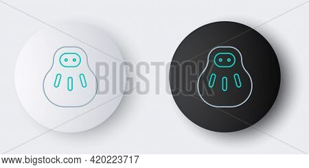 Line Maneki Neko Cat Icon Isolated On Grey Background. Japan Lucky Charm. Colorful Outline Concept.