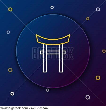 Line Japan Gate Icon Isolated On Blue Background. Torii Gate Sign. Japanese Traditional Classic Gate