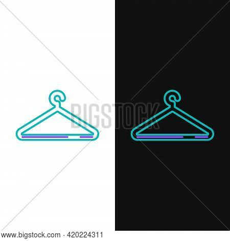 Line Hanger Wardrobe Icon Isolated On White And Black Background. Cloakroom Icon. Clothes Service Sy