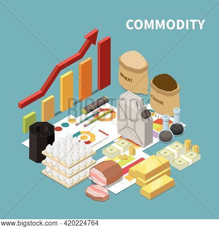 Commodity Isometric Composition With Images Of Manufactured Goods And Infographic Objects Graphs And