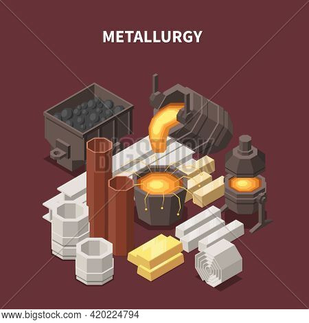 Commodity Isometric Composition With Images Of Fire Pots Tubes Waggons And Various Metallurgical Pro
