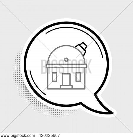 Line Astronomical Observatory Icon Isolated On Grey Background. Observatory With A Telescope. Scient
