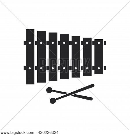Black Filled Xylophone. Musical Percussion Instrument Icon
