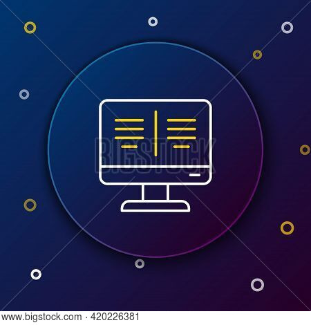 Line Online Book On Monitor Icon Isolated On Blue Background. Internet Education Concept, E-learning