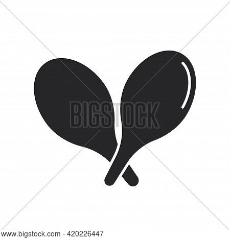 Black Filled Maracas. Musical Percussion Instrument Icon