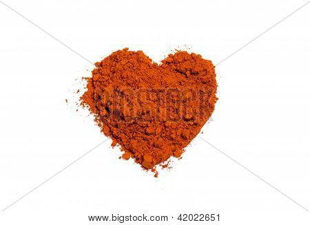 Isolated red ground chili shape of heart poster