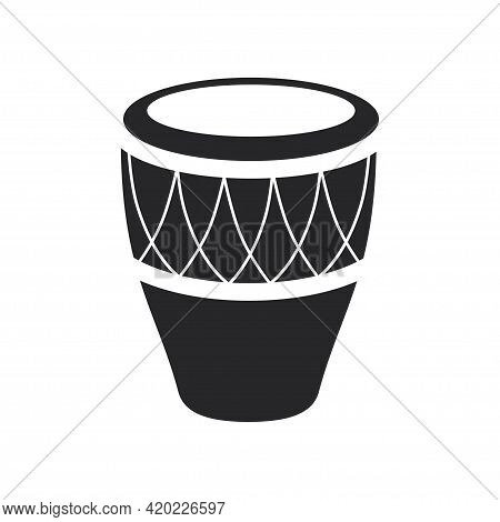 Black Filled Conga Drum. Djembe Musical Percussion Instrument Icon