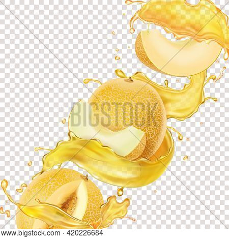 Honeydew Melon. Fresh Sweet Fruit With Realistic Yellow Juice Splash. Melon Beverage Or Flavor Vecto